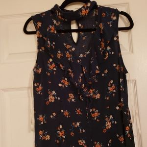 Navy and floral top